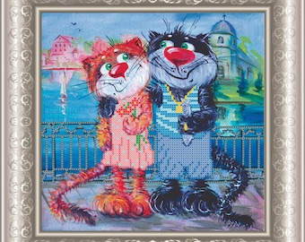 Happy Cats DIY beaded embroidery kit Needlepoint beading House warming gift idea