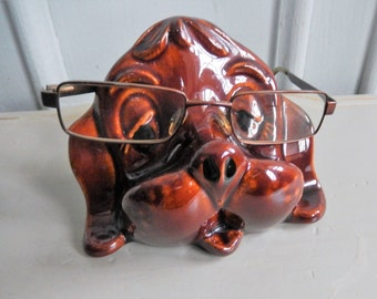 1970s Spectacle Eyeglasses Case, Ceramic Dog, Glass Holder, Kitsch Dog, Eyewear, Brown Dog Ceramic Spectacle Holder