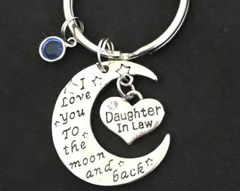 Personalized Gift for Daughter-in-law Daughter-in-law keychain Love you to the moon and back Daughter-in-law