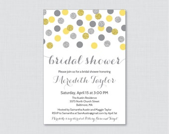 Yellow and Gray Bridal Shower Invitation Printable or Printed - Yellow and Silver Glitter Dots Bridal Shower Invites, Silver Glitter 0001-Y