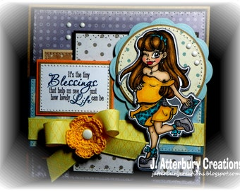 OOAK---It's the Tiny Blessings Maternity/Baby Shower Card + Matching Envelope Box