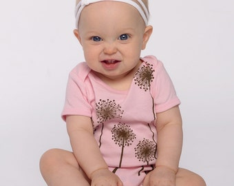 Dandelion Wishes Onesie with Chocolate on Cotton Candy Pink