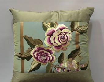 Silk pillow with floral image of FISHBACHER