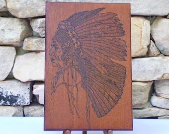 Native American Chief  Woodburning Pyrography
