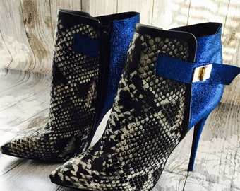 Womens Faux Snakeskin and Cobalt Blue Glitter Ankle Boots in a Size 6