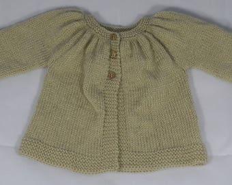 Kina long sleeve beige size 6 months woolen waistcoat handmade