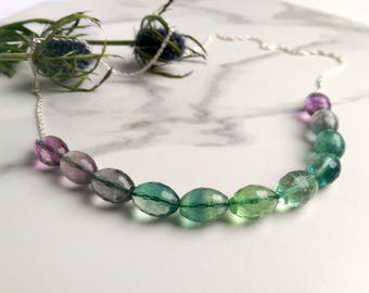 Gemstone necklace - Fluorite purple & green Ombre with sterling silver chain