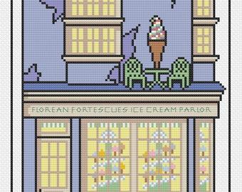 Little Diagon Alley: Florean Fortescue's Ice Cream Parlor Cross Stitch Pattern