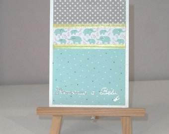Card for baby boy card in gray and turquoise, with elephants