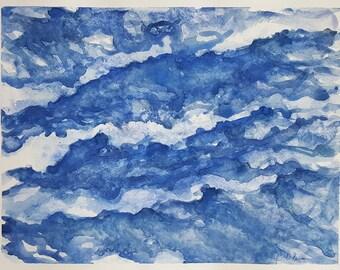 ORIGINAL Abstract Watercolor Painting,Ocean Watercolor Painting,Modern Watercolor,Seascape Art,Coastal Wall Art,Beach Wall Art,Seaside Art