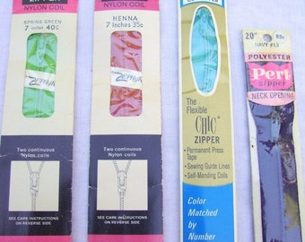 vintage ZIPPERS (JP Coats, Talon, Pert) -- lot of 4