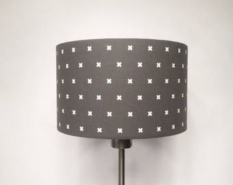 Cylindrical Ø 25 cm white cross charcoal grey shade