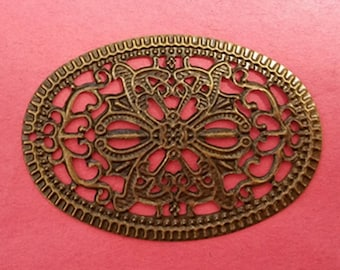8pc antique bronze filigree oval wraps-4181