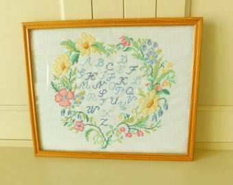 French Vintage Sampler Cross Stitch ABC & Floral Wreath Embroidery, Alphabet Wall Hanging Tapestry, Country Style Framed Sampler