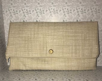 Canvas fold over clutch