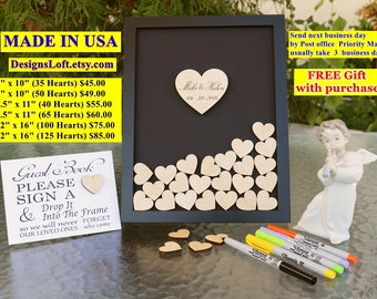 Wedding Guest Book Alternative - Personalized Wedding Guest Book Drop Box - Wedding Guest Book - Guest Book Drop Box - Hearts Guest Book