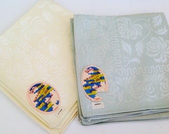 NOS damask napkins, blue napkins, yellow cloth napkins, yellow napkins, made in Japan, unused napkins, Bestmaid napkins, new with tags