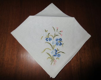 Vintage Hankie Blue Embroidered Hankies White Bridal Something Blue  Thinking of You Mother of the Bride Gift Get Well Cotton Linen #1