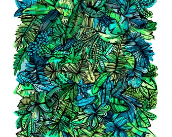 Green Tropical Leafy Plants Illustrated Environment Print - Printed on Recycled Paper! (20% of Proceeds will go to the NRDC!) | Plant Art