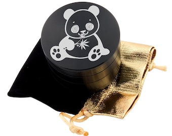 "Panda Chewing Leaf Laser Etched Design 2.5"" Large Size Herb Grinder Item # ETCH-G013017-36"