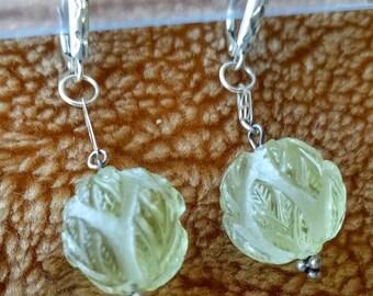 Unique Frost Carved Lemon Quartz Dangling Earrings