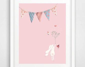 Easter Printable, Nursery Art Print, Kids Room Print, Blush Girl Nursery Wall Decor, baby shower gift, rabbit print, digital art