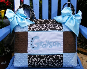 Light Blue Chocolate Brown Minky Dot Nature Premier Print Boy Diaper Bag with Light Blue Bow