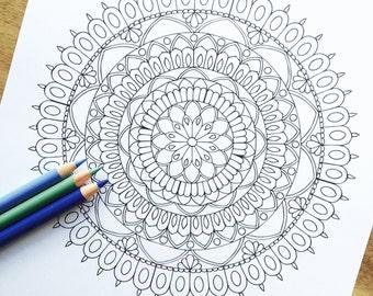 "Mandala ""Splendor"" - Hand Drawn Adult Colouring Print"
