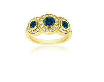 Alexandrite Diamond Ring -Natural Alexandrite- in 14K Yellow Gold with Certificate!!  Free Shipping in The USA