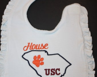 Baby bibs, bibs, USC, University of South Carolina, Clemson, Tigers, embroidered, gifts, house divided