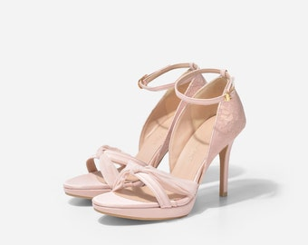Noelle Nude Custom Made Heels, Nude Floral Lace Pumps, Nude Strappy Bridal Heels, Floral Lace Wedding Shoe