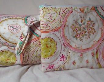 Set of 2: Wristlet/Clutch Purse & Box Bag/Cosmetic Bag