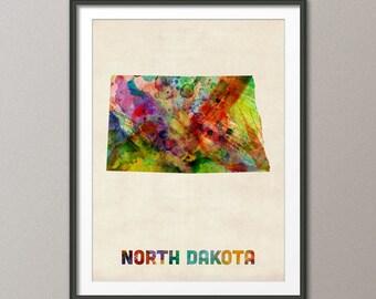 North Dakota Watercolor Map USA, Art Print (429)