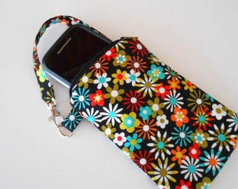 Zipper Pouch for Phone with Swivel Clip ECO Friendly Padded Zipper Purse With Clip Aplenty Flowers CHOOSE SIZE