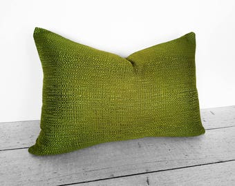 Solid Green Pillow, Green Pillow Cover, Green Pillows, Decorative Pillows, Textured, Shimmering, Green Cushion Covers,  20x20