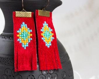Red leather earrings with bright embroidery e032