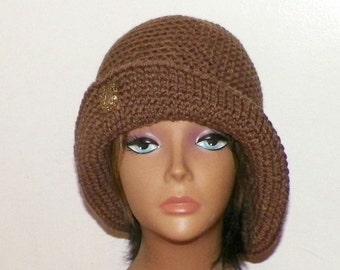 Brown Cloche Hat Flapper Womens Button Downton Abbey Freeform Chemo Cafe Latte  Beanie Crochet Gatsby Bucket 1920s Style