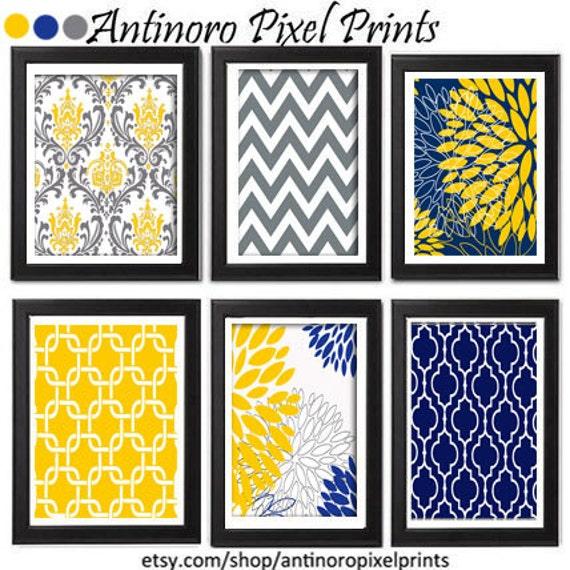 floral digital print wall art yellow navy grey vintage