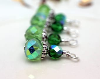 Green AB Multifaceted Rondelle Crystal and Czech Crystal Bead Earring Dangle Necklace Charm Drop Set