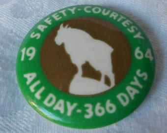 VINTAGE Metal Goat on Hill 1964 Safety Costume Jewelry Pin