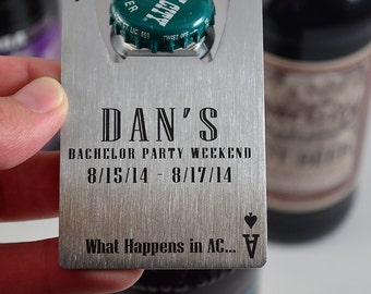 Groomsman Gifts - Bottle Opener Credit Card Sized PERSONALIZED - FREE SHIPPING