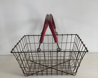 Vintage Rusty Wire Market Basket with Handles