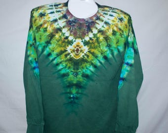 Adult Large, Multicolored and Dark Green Dip Dye Long Sleeve, 100% Cotton
