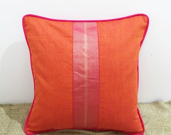 Orange and Hot Pink Cotton Pillow Cover, Decorative Pillow Cover, Outdoor Pillow Cover, Beach Wedding Pillow, 16x16 Inch Pillow Cover