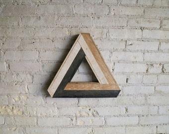 Reclaimed Wood Wall Art, Decor, Lath, Penrose Triangle Small, Geometric Pattern, Escher