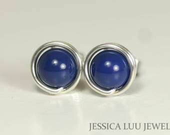 Blue Lapis Earrings Wire Wrapped Jewelry Sterling Silver or Gold Filled Blue Stud Earrings Lapis Stud Earrings Lapis Lazuli Swarovski Pearl