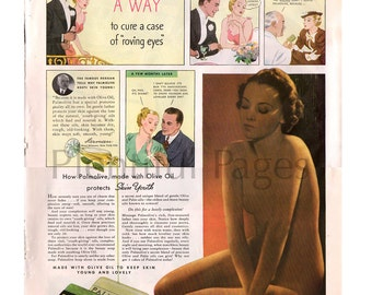 1936 Palmolive Soap Vintage Ad, 1930's Beauty, Retro Beauty, Color Illustration, 1930's Housewife, Retro Ad, Beauty Bar, Great for Framing.