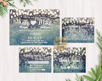 Digital Printable Files - Teal - Romantic Garden and Night Light Wedding Invitation RSVP Thank You Invitation Set - ID210T