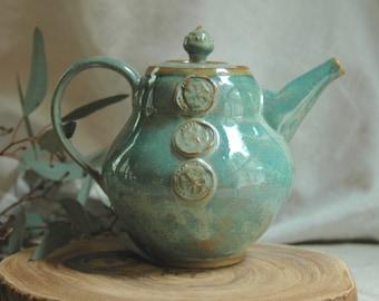 Teapot, green teapot, stoneware teapot, wedding gift, tea maker, ooak