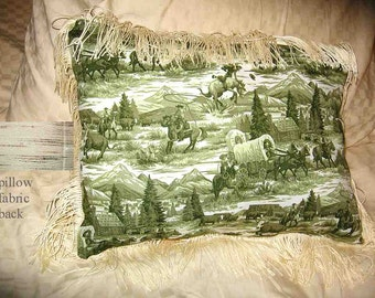 Final Markdown Sale...WESTERN SCENE Pioneer Cowboys Horses Green Toile Pillow w/Trim...Price Reduced